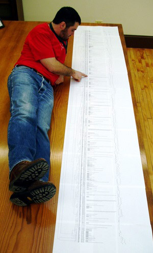 Dr. Avis looks at a very long diagram of species phylogeny.