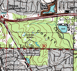Topographic map showing Somme Woods.