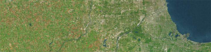 Satellite view of Chicago Region.